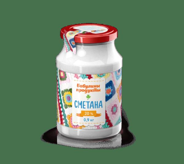 Сметана Бабулины продукты 0.9л стекло