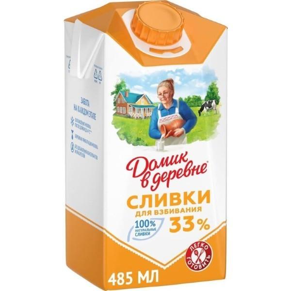 """Сливки """"Домик в деревне"""", 33%, 480г"""
